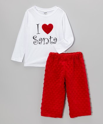 White 'I Love Santa' Top & Red Minky Pants - Infant, Toddler & Kids
