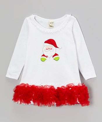 White & Red Ruffle Santa Shift Dress - Infant, Toddler & Girls