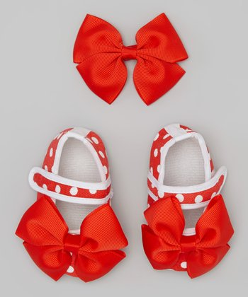 Red Polka Dot Booties & Bow Clip