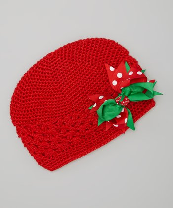 Red & Green Bow Crocheted Beanie