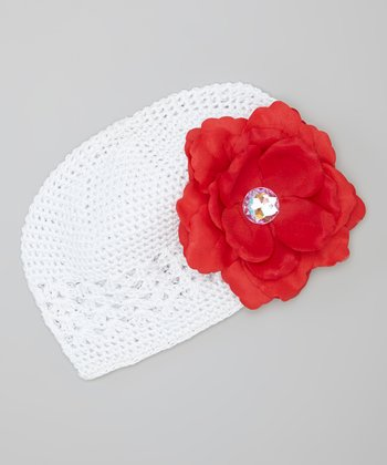 White & Red Rose Crocheted Beanie