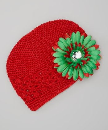 Red & Green Flower Crocheted Beanie