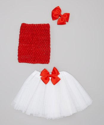 White & Red Tutu Set