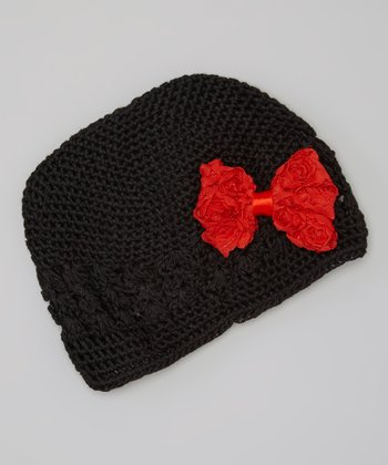 Black & Red Bow Crocheted Beanie