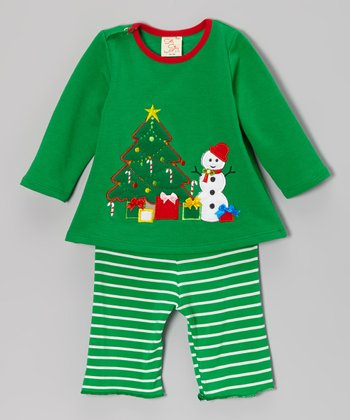 Green Snowman Top & Stripe Pants - Infant & Toddler