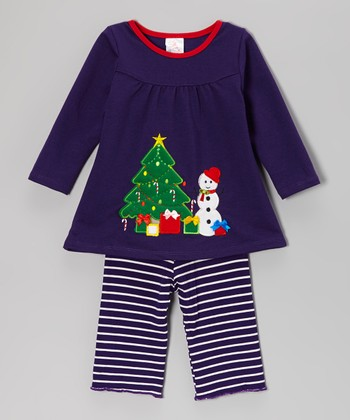Blue Snowman Top & Stripe Pants - Infant & Toddler