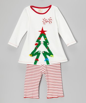 White & Red Christmas Tree Top & Stripe Pants - Infant & Toddler