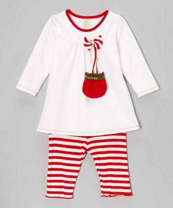 White & Red Satchel Top & Stripe Pants - Infant & Toddler
