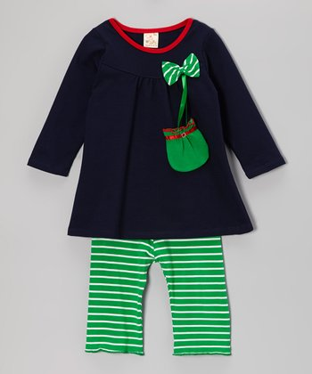 Navy Satchel Top & Green Stripe Pants - Infant & Toddler