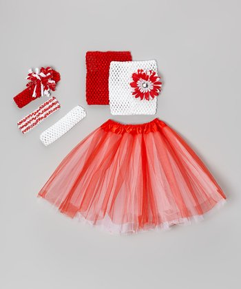 Red & White Tutu Set