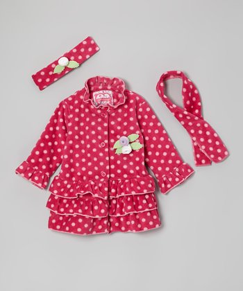 Pink Polka Dot Ruffle Jacket Set - Toddler & Girls