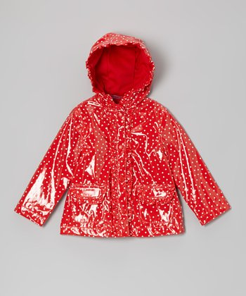 Red Polka Dot Ruffle Rain Jacket - Infant