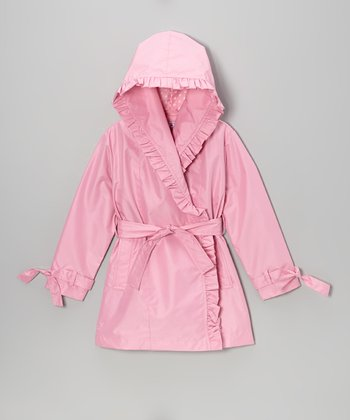 Sweet Pink Ruffle Trench Coat - Girls