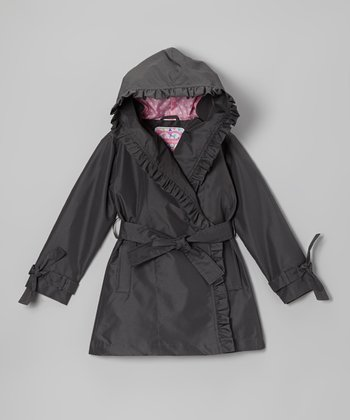 Gray Ruffle Trench Coat - Girls