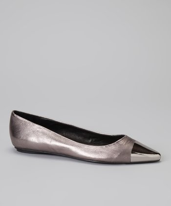 Pewter Leather Jaqueline Flat