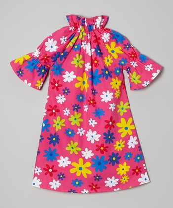 Pink Floral Peasant Dress - Toddler & Girls