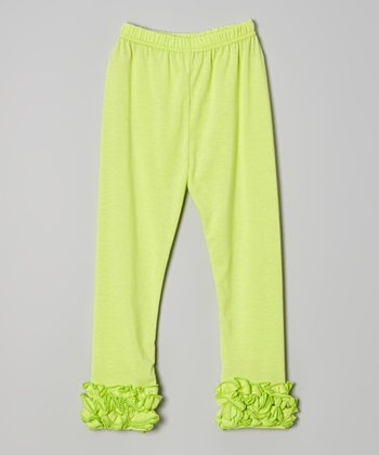 Green Ruffle Leggings - Toddler