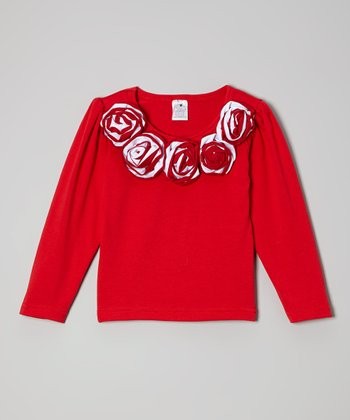 Red Flower Tee - Toddler