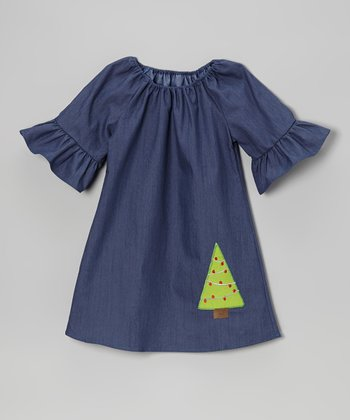 Denim Blue Tree Ruffle Swing Dress - Toddler & Girls