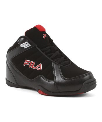Black & Red Leave It On The Court Hi-Top - Kids
