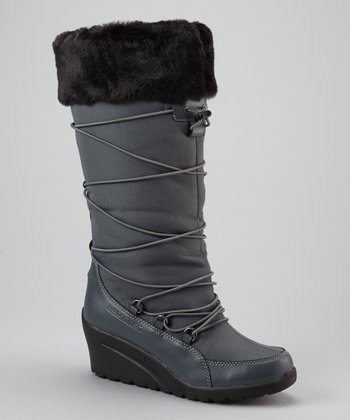 Charcoal Plaza Cuff Boot - Women