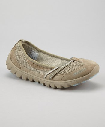 Light Gray Suede Jade Spa Flat