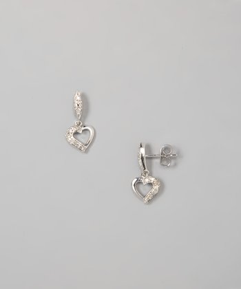 White Diamond & Sterling Silver Heart Drop Earrings