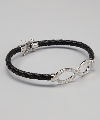 Black & White Diamond & Sterling Silver Infinity Bracelet