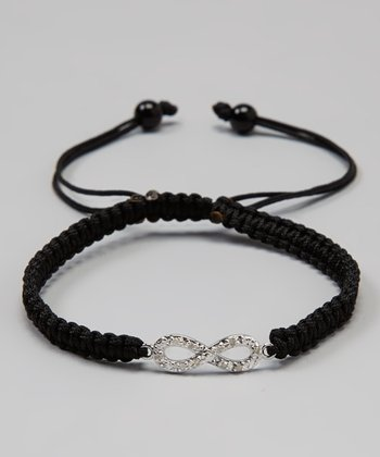 Black & White Diamond & Sterling Silver Dainty Infinity Bracelet