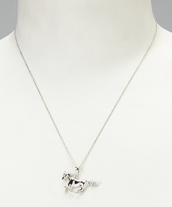White Diamond & Sterling Silver Horse Pendant Necklace