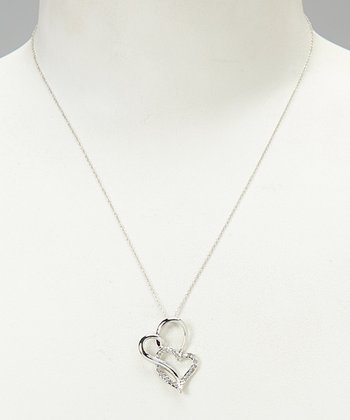 White Diamond & Silver Double Heart Pendant Necklace