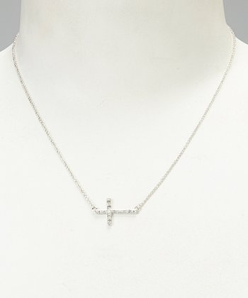 White Diamond & Silver Cross Pendant Necklace