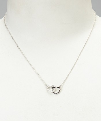 White Diamond & Silver Dainty Double Heart Pendant Necklace