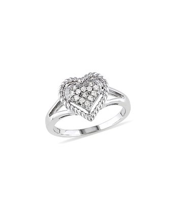 Diamond & Silver Pave Heart Ring