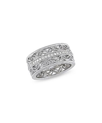 Diamond & Silver Pave Metalwork Ring