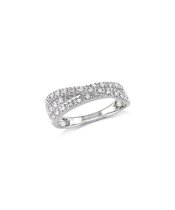 Diamond & Silver Pave Crossover Ring