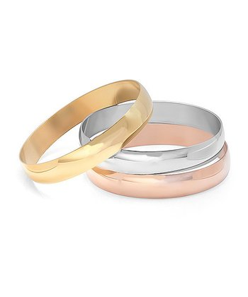 Rose Gold, Gold & Stainless Steel Bangle Set