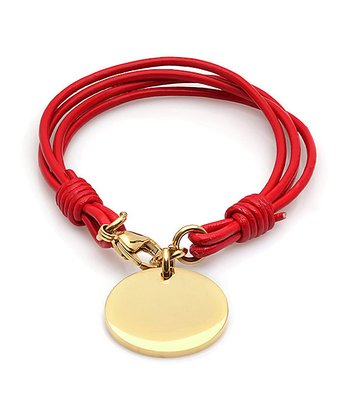 Red Leather & Gold Tag Bracelet