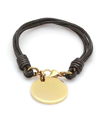 Black Leather & Gold Tag Bracelet