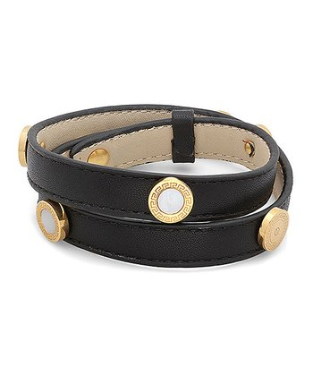 Black & Gold Greek Key Leather Wrap Bracelet