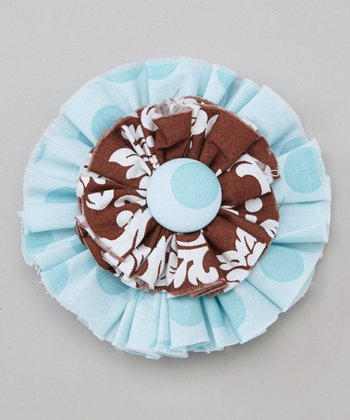 Brown Damask Flower Clip
