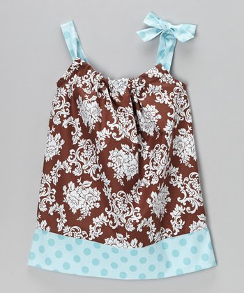 Brown Damask Swing Dress - Infant, Toddler & Girls