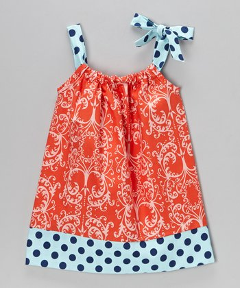 Coral Damask Swing Dress - Infant, Toddler & Girls