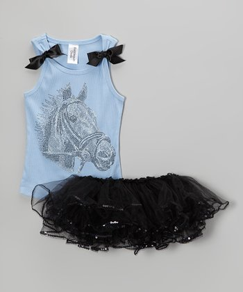 Baby Blue & Black Rhinestone Horse Tank & Tutu - Toddler & Girls
