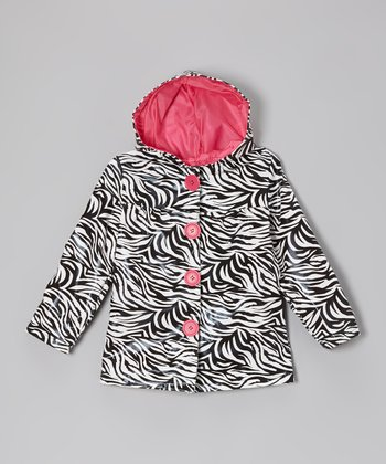 Black & Pink Zebra Raincoat - Girls