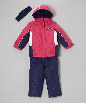 Fuchsia & Navy Snow Pants Set - Girls