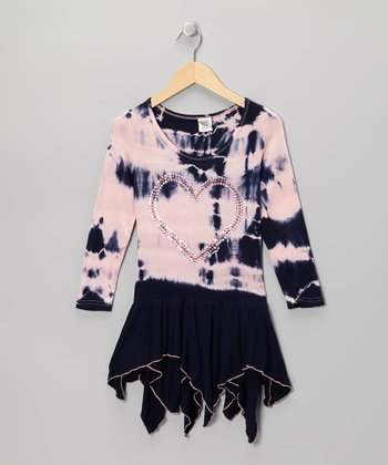Pink & Navy Tie-Dye Handkerchief Dress - Girls
