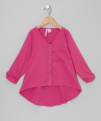 Fuchsia Hi-Low Button-Up - Girls