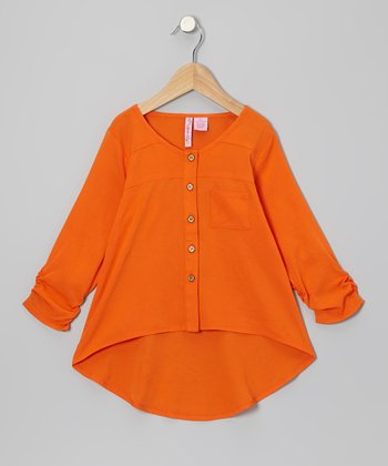Orange Hi-Low Button-Up - Girls