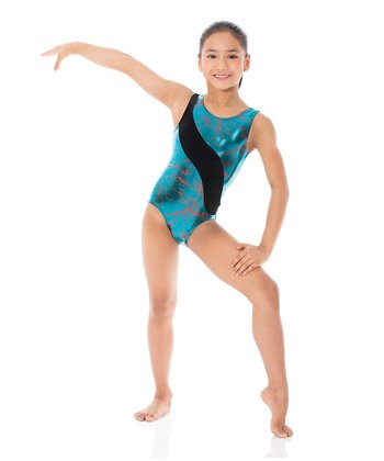 Teal Lightning Velvet Leotard - Toddler & Girls